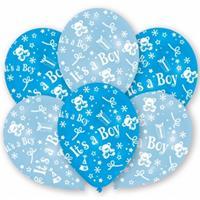 12x stuks Blauwe geboorte ballonnen jongen 27.5 cm - Ballonnen