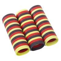 12x rolletjes serpentine rollen zwart/rood/geel van 4 meter - Serpentines