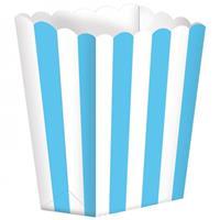 Amscan snoepbakjes streep 5 stuks 9,5 x 13,5 cm hemelsblauw