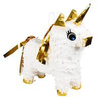 Boland mini-piñata eenhoorn 21 x 17 cm papier wit/goud