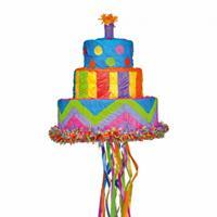 Amscan piñata verjaardagstaart regenboog 30x33 cm