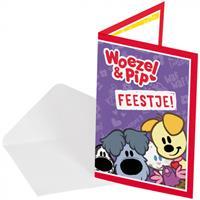 Folat uitnodigingen Woezen en Pip junior papier paars 8 stuks