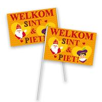 Folat 8x Stuks welkom Sint en Piet zwaaivlaggetjes - zwaaivlaggen
