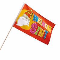 Voordeelset van 12x stuks welkom Sint zwaaivlaggetjes 30 x 45 cm - zwaaivlaggen