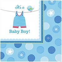 32x stuks Geboorte thema jongen servetten 33 x 33 cm - Feestservetten