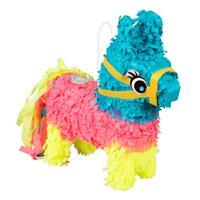 Boland mini-piñata ezel 20 x 18 cm papier blauw/roze/geel