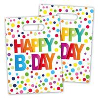 Uitdeelzakjes Happy Birthday Confetti, 8st.