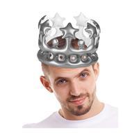 Opblaasbare kroon zilver 23 cm - Verkleedhoofddeksels