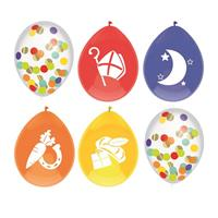 Set van 6x stuks gekleurde/confetti Sinterklaas ballonnen - Ballonnen