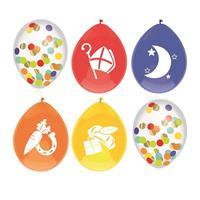 Set van 12x stuks gekleurde/confetti Sinterklaas ballonnen - Ballonnen