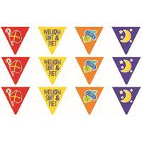 4x Vlaggenlijnen papier Sinterklaas Welkom Sint en Piet 6 meter feestversiering -