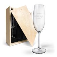 YourSurprise Champagnekist met gegraveerde glazen - flutes met naam