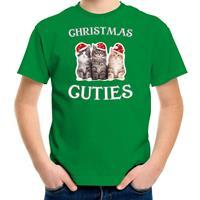 Bellatio Decorations Kitten Kerst t-shirt / outfit Christmas cuties groen voor kinderen