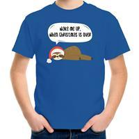 Bellatio Decorations Luiaard Kerst t-shirt / outfit Wake me up when christmas is over blauw voor kinderen