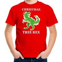 Bellatio Decorations Christmas tree rex Kerstshirt / outfit rood voor kinderen