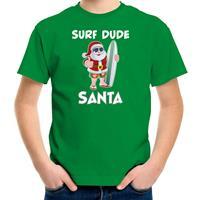 Bellatio Decorations Surf dude Santa fun Kerstshirt / outfit groen voor kinderen