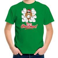 Bellatio Decorations Fout Kerst t-shirt / outfit met hamsterende kat Merry Christmas groen voor kinderen