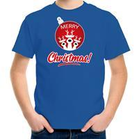 Bellatio Decorations Rendier Kerstbal shirt / Kerst t-shirt Merry Christmas blauw voor kinderen