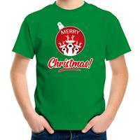 Bellatio Decorations Rendier Kerstbal shirt / Kerst t-shirt Merry Christmas groen voor kinderen