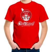 Bellatio Decorations Rendier Kerstbal shirt / Kerst t-shirt Merry Christmas rood voor kinderen