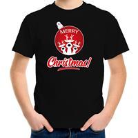 Bellatio Decorations Rendier Kerstbal shirt / Kerst t-shirt Merry Christmas zwart voor kinderen