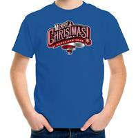 Bellatio Decorations Merry Christmas Kerstshirt / Kerst t-shirt blauw voor kinderen