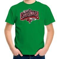 Bellatio Decorations Merry Christmas Kerstshirt / Kerst t-shirt groen voor kinderen