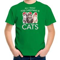 Bellatio Decorations Kitten Kerst t-shirt / outfit All i want for Christmas is cats groen voor kinderen