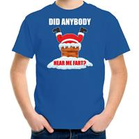 Bellatio Decorations Fun Kerstshirt / outfit Did anybody hear my fart blauw voor kinderen