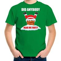 Bellatio Decorations Fun Kerstshirt / outfit Did anybody hear my fart groen voor kinderen