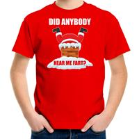 Bellatio Decorations Fun Kerstshirt / outfit Did anybody hear my fart rood voor kinderen