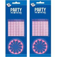 Merkloos 48x stuks roze/witte taartkaarsjes met houders -