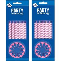 Merkloos 72x stuks roze/witte taartkaarsjes met houders -