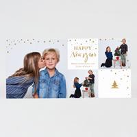 tadaaz Kerstkaart met 3 foto's en gouden sneeuw
