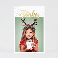 tadaaz Kerstkaart met foto en warme wensen in goudfolie
