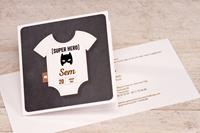 tadaaz Stoere geboortekaart met rompertje en batmanmasker | Buromac 589028