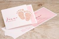 tadaaz Geboortekaartje voetjes met roze bloempjes | Buromac 507111