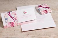 tadaaz Bohemian trouwkaart pochette met roze bloemen | Buromac 108053
