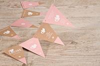 tadaaz Roze vlaggenlijn geboortekaartje met katjes