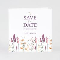 tadaaz Trouwkaart 'save the date' met trendy droogbloemprint