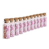 Merkloos 24x Geboorte bedankjes mini transparante glazen flesjes met kurken deksel/dop 10 ml -