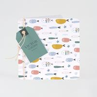 Tadaaz Kleurrijk geboortekaartje zee met visjes en label