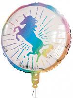 Boland folieballon Unicorn 45 cm wit/roze