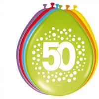Folat ballonnen 50 jaar 30 cm latex 8 stuks