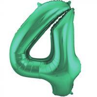 Folat folieballon '4' 86 cm groen