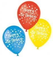 Amscan ballon Happy Birthday 22,8 cm latex 6 stuks
