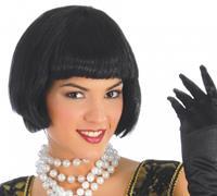 Fiestas Guirca verkleedpruik halflang dames synthetisch zwart