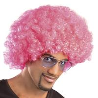 Boland pruik Afro 43 x 23 cm polyester roze