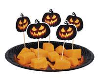 Set 12 Cocktailprikkers Creepy Pumpkin (12 cm)