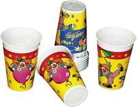 Bekers 25cl 8 stuks clown